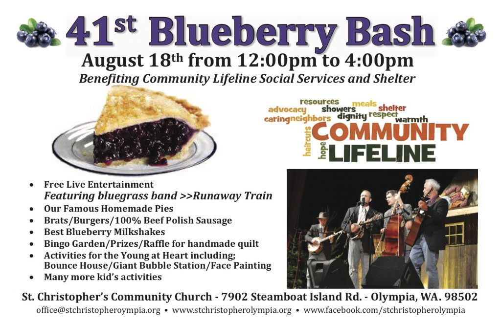 "Benefiting Community Lifeline Social  Services and Shelter - Free Live Entertainment featuring bluegrass band ""Runaway Train"" - Our famous homemade Pies - Brats and Burgers - Blueberry Milkshakes  - Bingo and Raffle - Lots of games and activities for kids including face painting and a bouncy house."